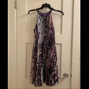 Satin Sequin Print Trapeze Dress (new with tag)